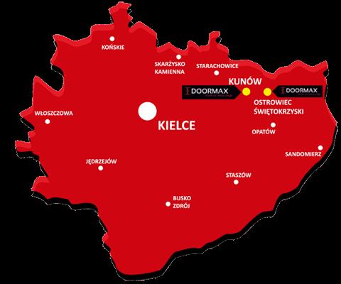 Siedziby firmy Doormax w Kunowie i Ostrowcu Świętokrzystkim koło Kielc